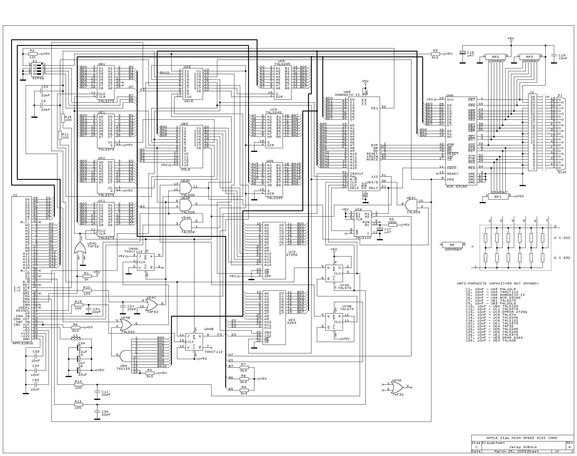 Index of apple ii items hardware apple ii high speed scsi schematic